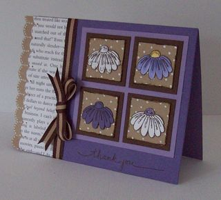 Book Page Daisy Quilt Card